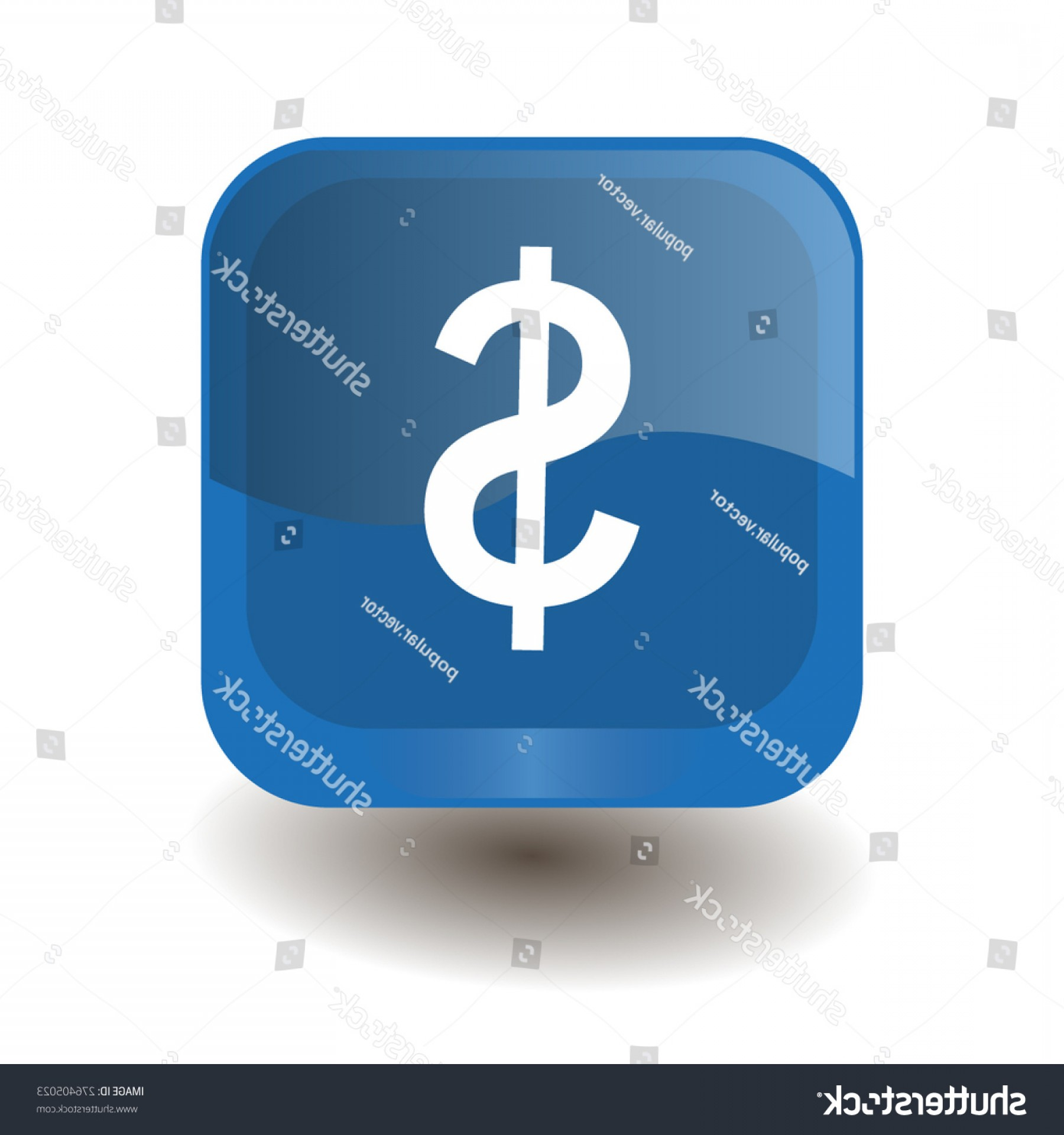 Blue Dollar Sign Vector: Blue Square Button White Dollar Sign