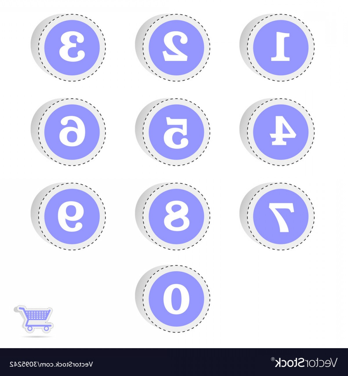 Numbered Tab Vectors In Blue: Blue Sticker With Numbers Vector