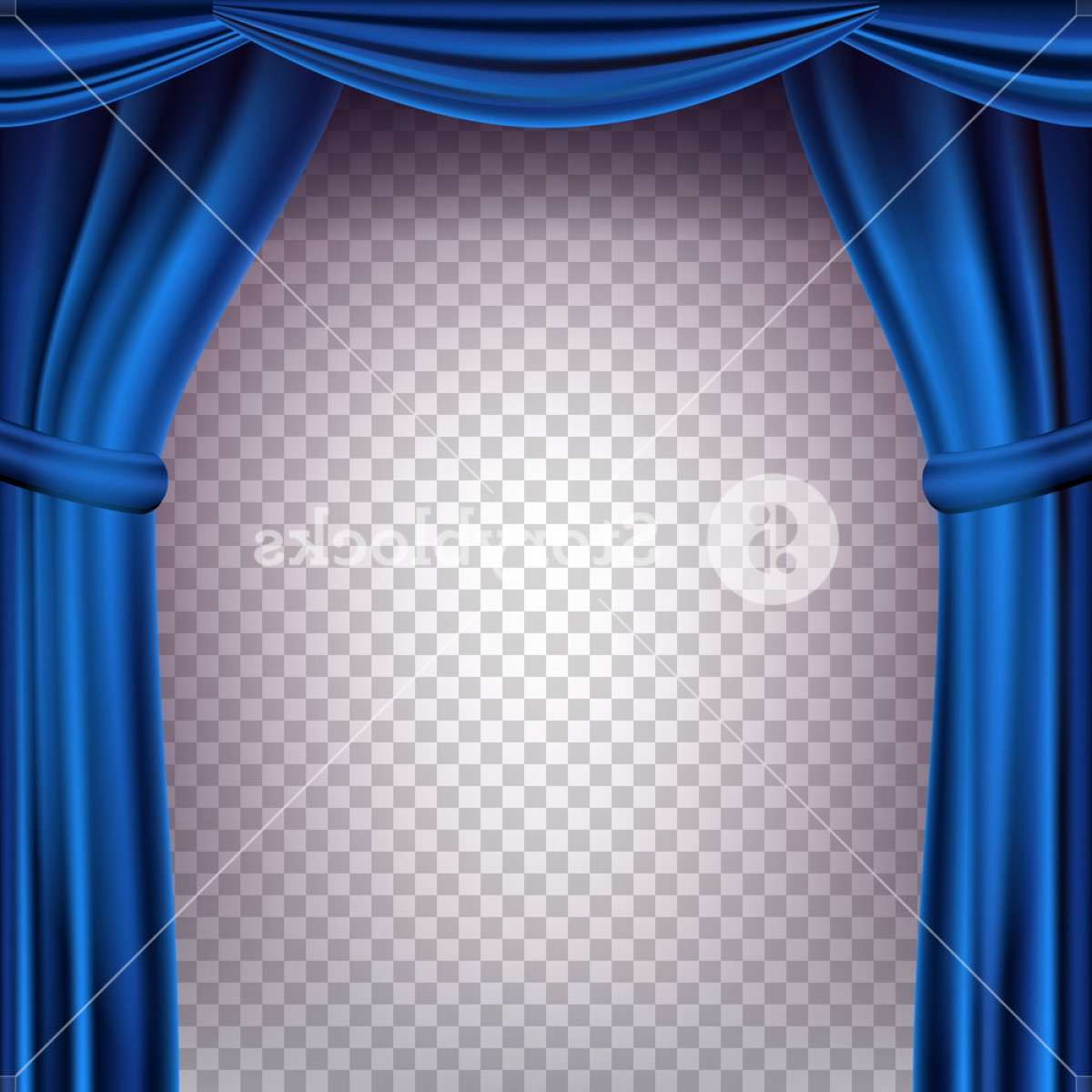 Stage Curtain Vector: Blue Theater Curtain Vector Transparent Background Banner For Concert Party Theater Dance Template Realistic Illustration Sbcaqvvfjduc