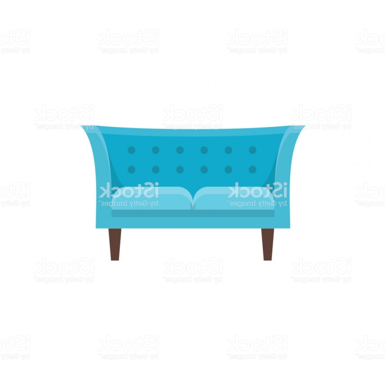 Back Of The Couch Vector: Blue Tuxedo Sofa Vector Illustration Flat Icon Of Double Settee Modern Chesterfield Gm