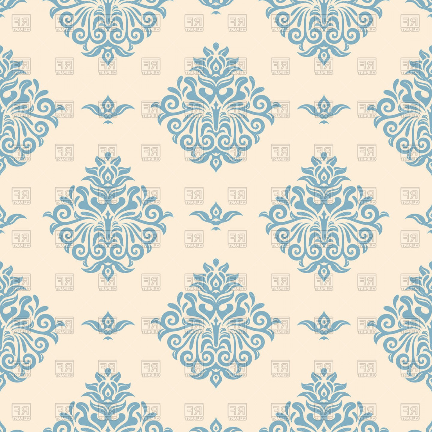 Aqua Victorian Vectors: Blue Vintage Wallpaper With Victorian Ornament Vector Clipart