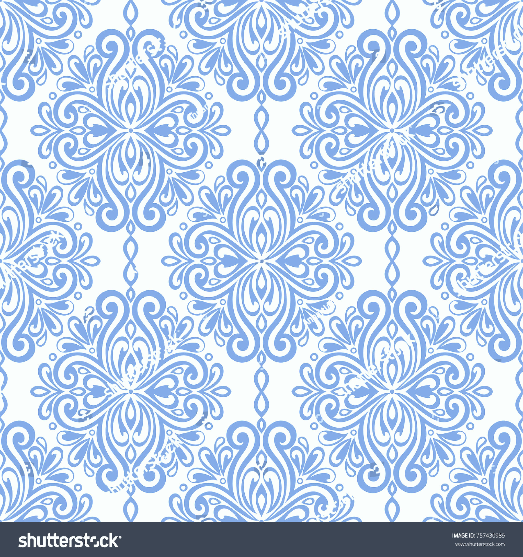 Blue And White Damask Vectors: Blue White Damask Vector Seamless Pattern