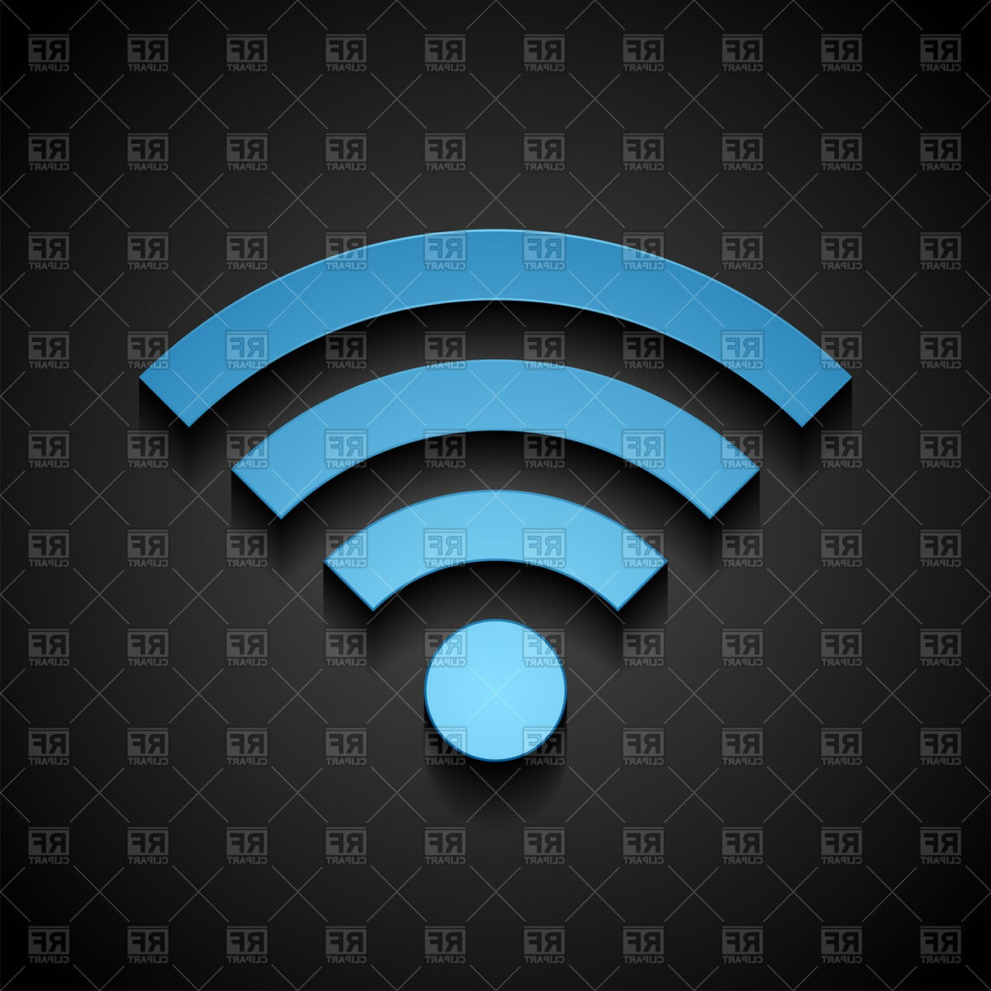 Wifi Symbol Clip Art Vector: Blue Wifi Tech Icon On Black Background Vector Clipart