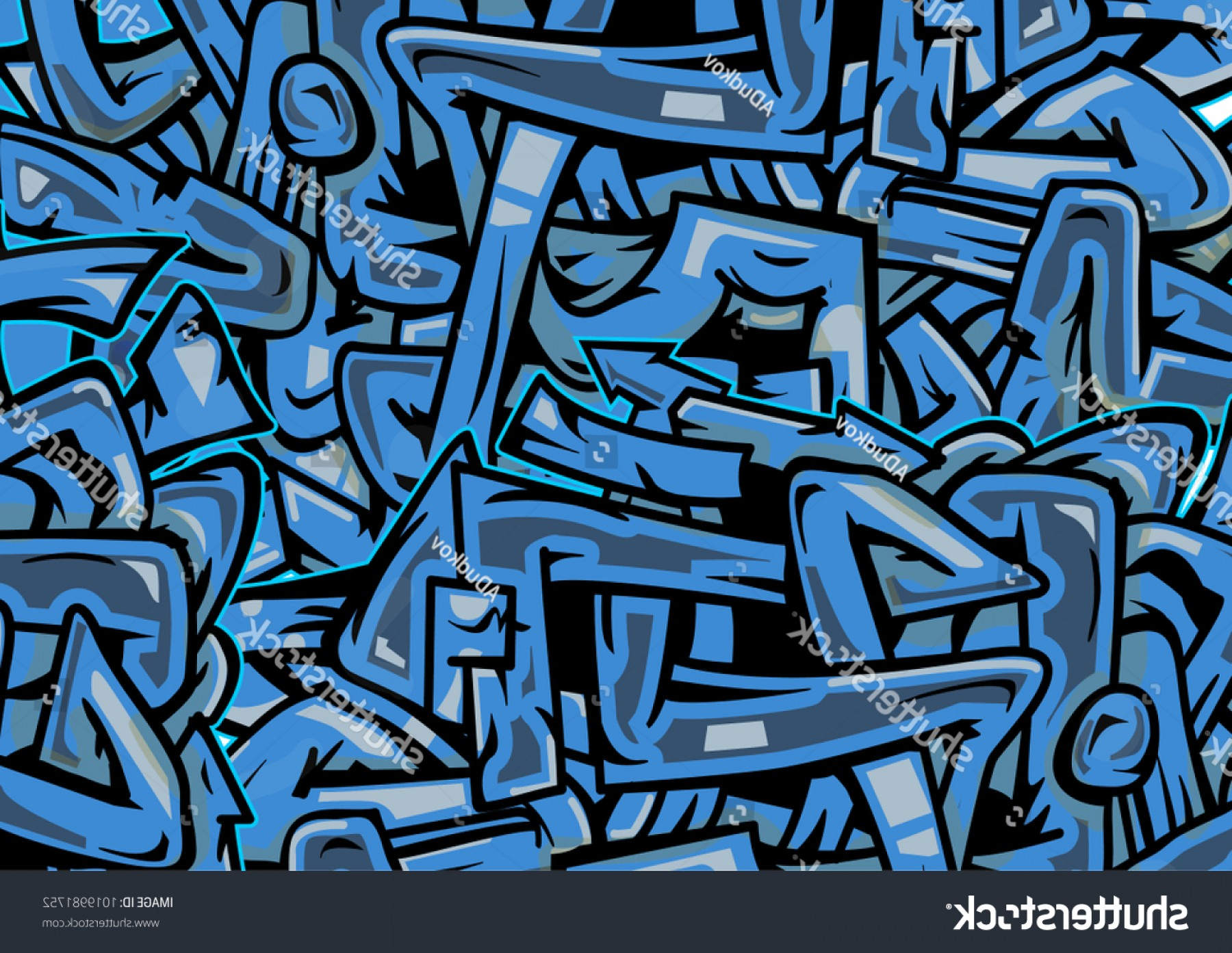 Graffiti Lines Vector Blue Wild Style Graffiti Texture Crossing
