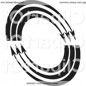 Oval Swoosh Vector Clip Art: Black And White Arrow Oval Design