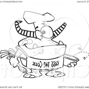 Apron Vector: Black And White Chef Monster Wearing A Kiss The Cook Apron