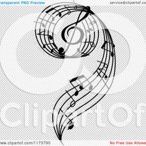 Transparent Music Notes Swirl Vector: Abstract Music Note Vector Background Art