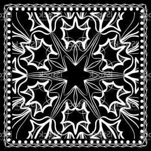 Vector Bandana Headband: Black And White Paisley Bandana Print With Floral Pattern Square Pattern Design For Gm