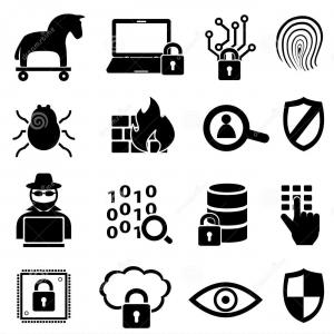 Cyber Security Vector Black And White: Black Cyber Security Icon Isolated On White Vector