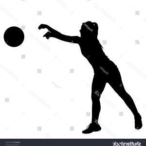 Volleyball Vector Dog Lady: A Caucasian Girl Playing Volleyball Vector