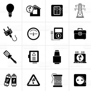 Vector Art Black Power: Black Power Energy And Electricity Icons Gm