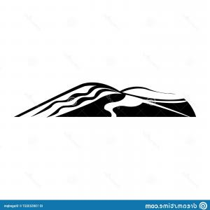 Sand Dune Silhouettes Vectors: Black Sand Dunes White Background Silhouette Desert Dune Isolated Image