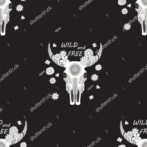 Free Skull Vector Pack: Black Seamless Pattern Cow Skull Flowers