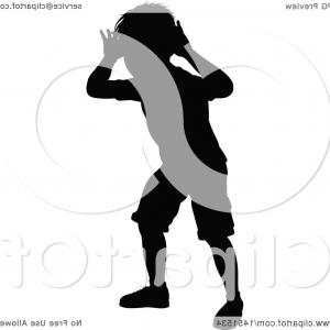 Little Boy Silhouette Vector: Black Silhouetted Little Boy Peeking Through An Invisible Window