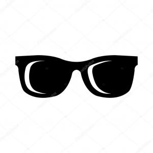 Vector Sunglasses Black And White: Black Sunglasses With Dark Lens Isolated On White Vector
