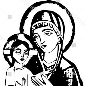 Mary Halo Vector: Blessed Virgin Mary Holding Baby Jesus