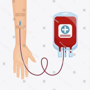 Charity Meter Vector: Blood Bag Pack Donor Hands Isolated