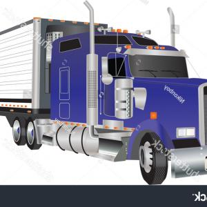 Vector Truck And Trailer Hauling: Blue American Truck Hauling Refrigerated Trailer