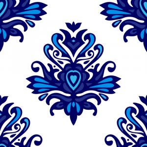Blue And White Damask Vectors: Blue And White Damask Pattern For Fabric Vector