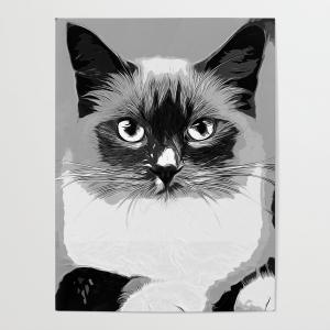 Vector Black And White Eye: Blue Eyes Ragdoll Cat Vector Art Black Whiteposter