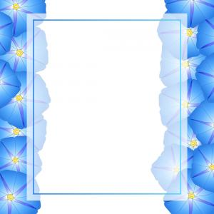 Morning Glory Transparent Vector: Blue Morning Glory Flower Banner Card Border Vector