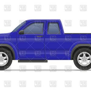 Vector Drawings Of Old Trucks: Blue Old Retro Car Pickup Side View Vector Clipart