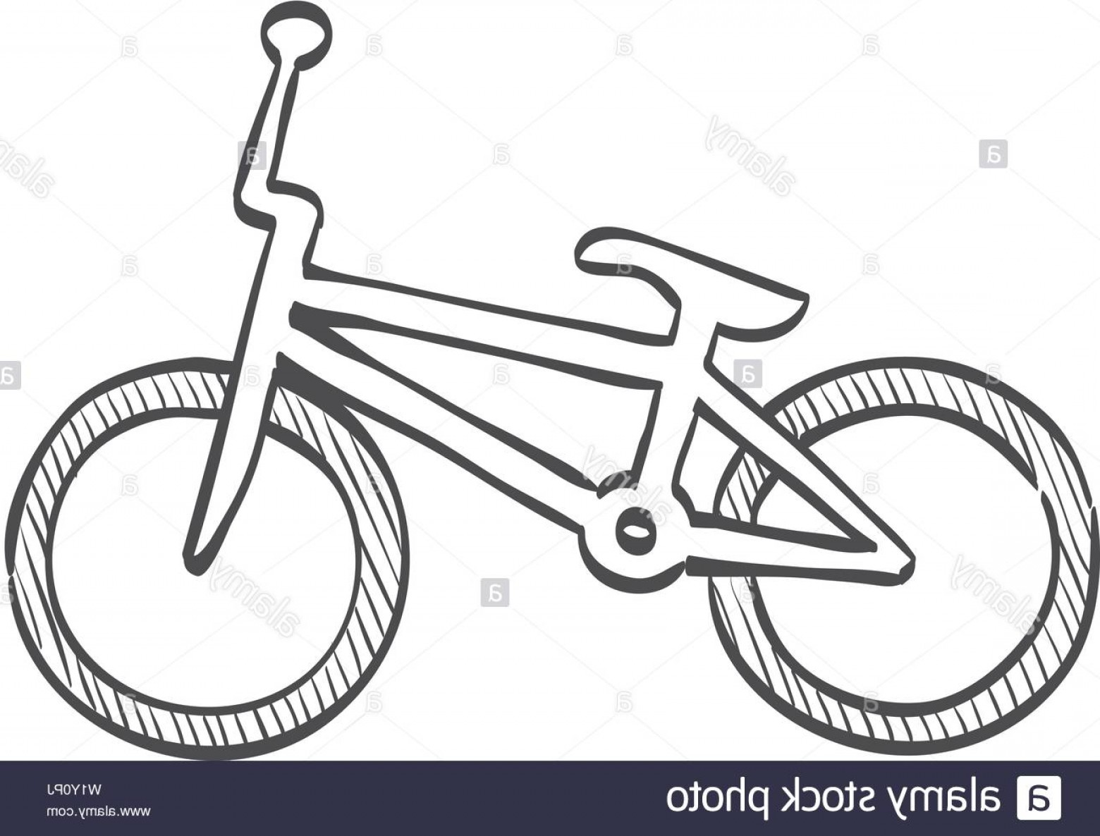 BMX Bike Tire Vector: Bmx Bicycle Icon In Doodle Sketch Lines Sport Race Park Play Tricks Jump Kids Image