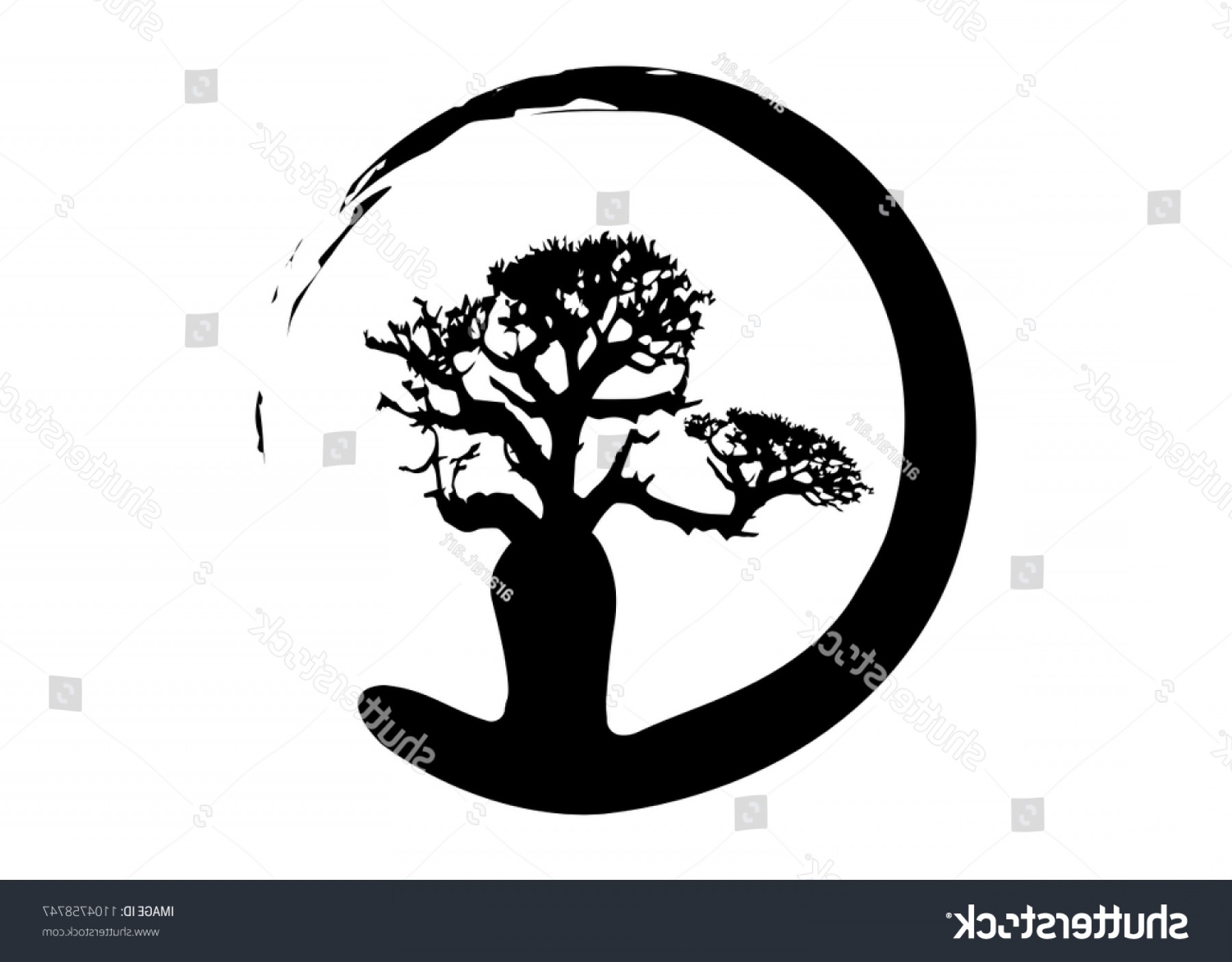 Sapling Vector Tree Silhouette Art: Boab Baobab Tree Vector Isolated Silhouette