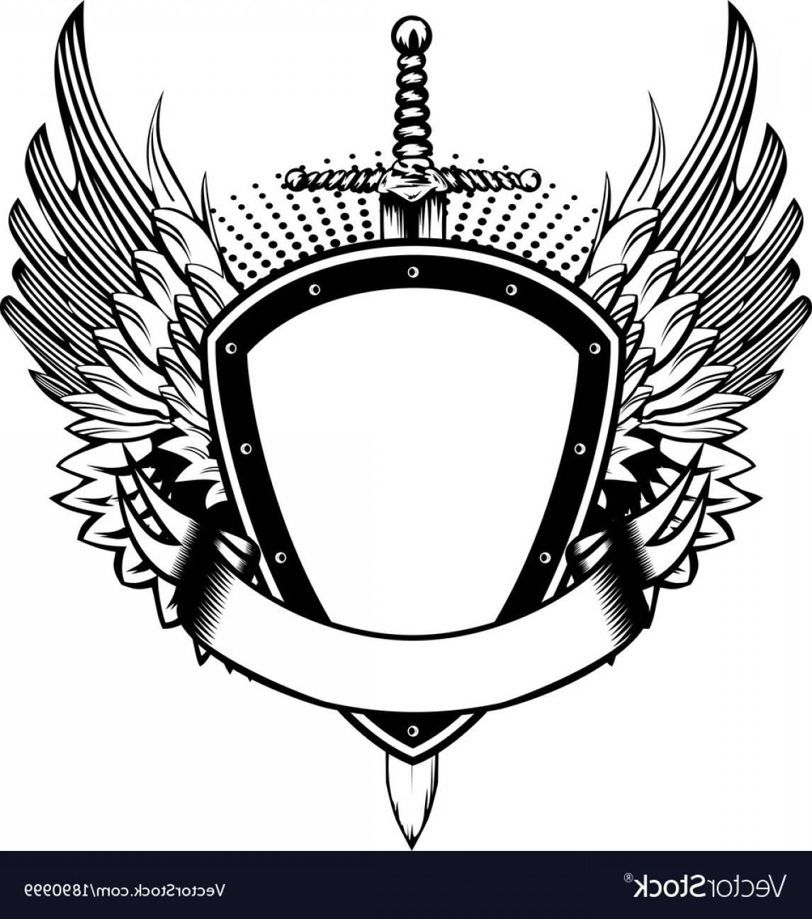 Shield With Wings Vector HD: Board Sword And Wings Vector