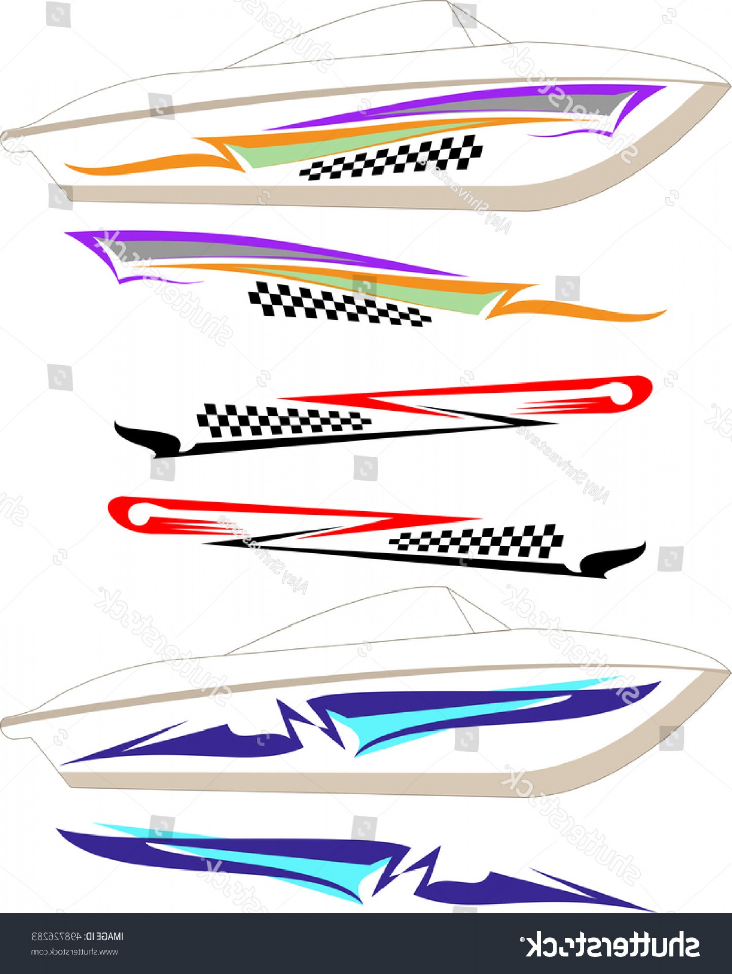 Boat Vector Art Graphics: Boat Graphics Stripe Vinyl Ready Vector