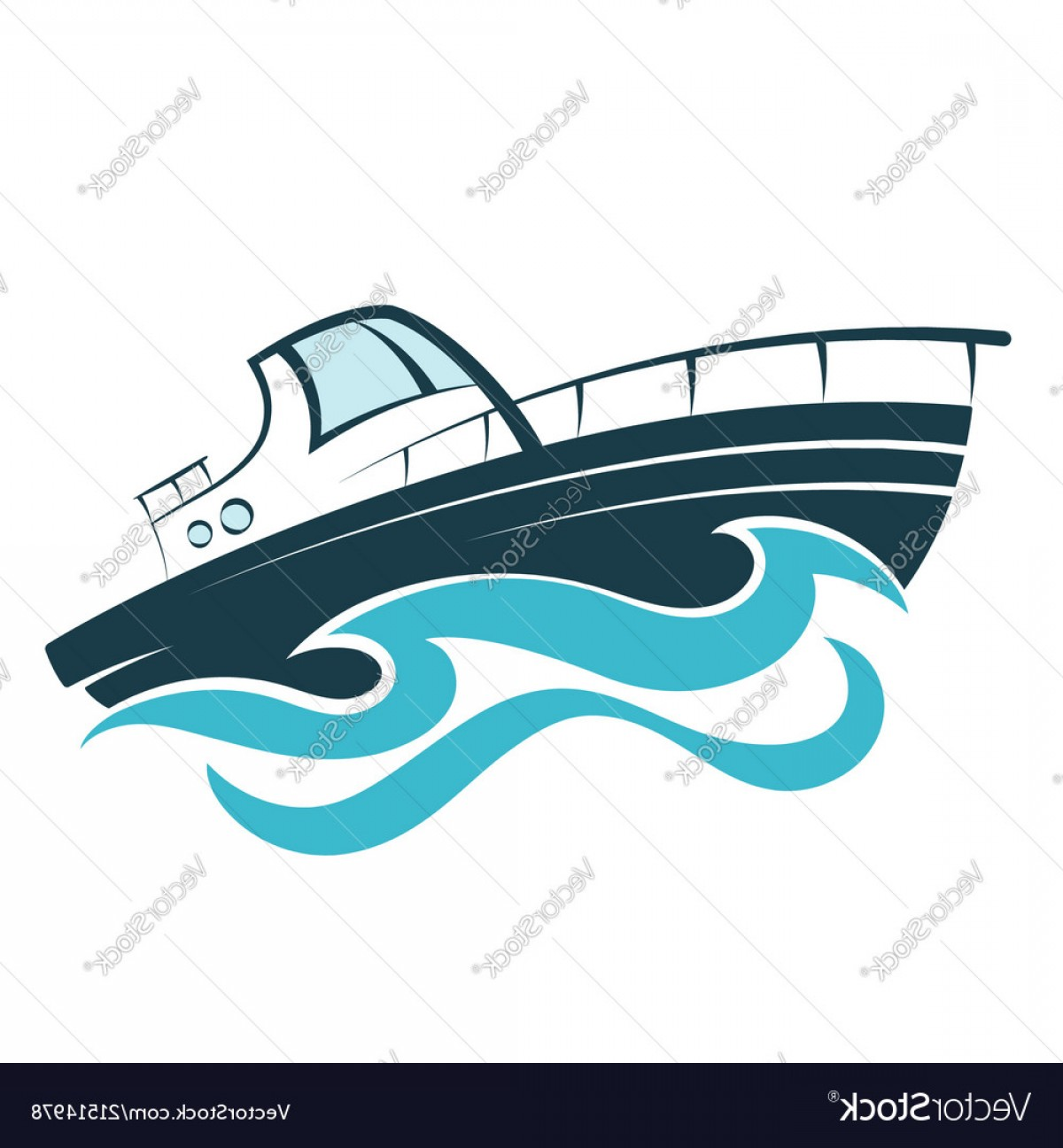 Waves With Cruise Ship Silhouette Vector: Boat On The Wave Vector