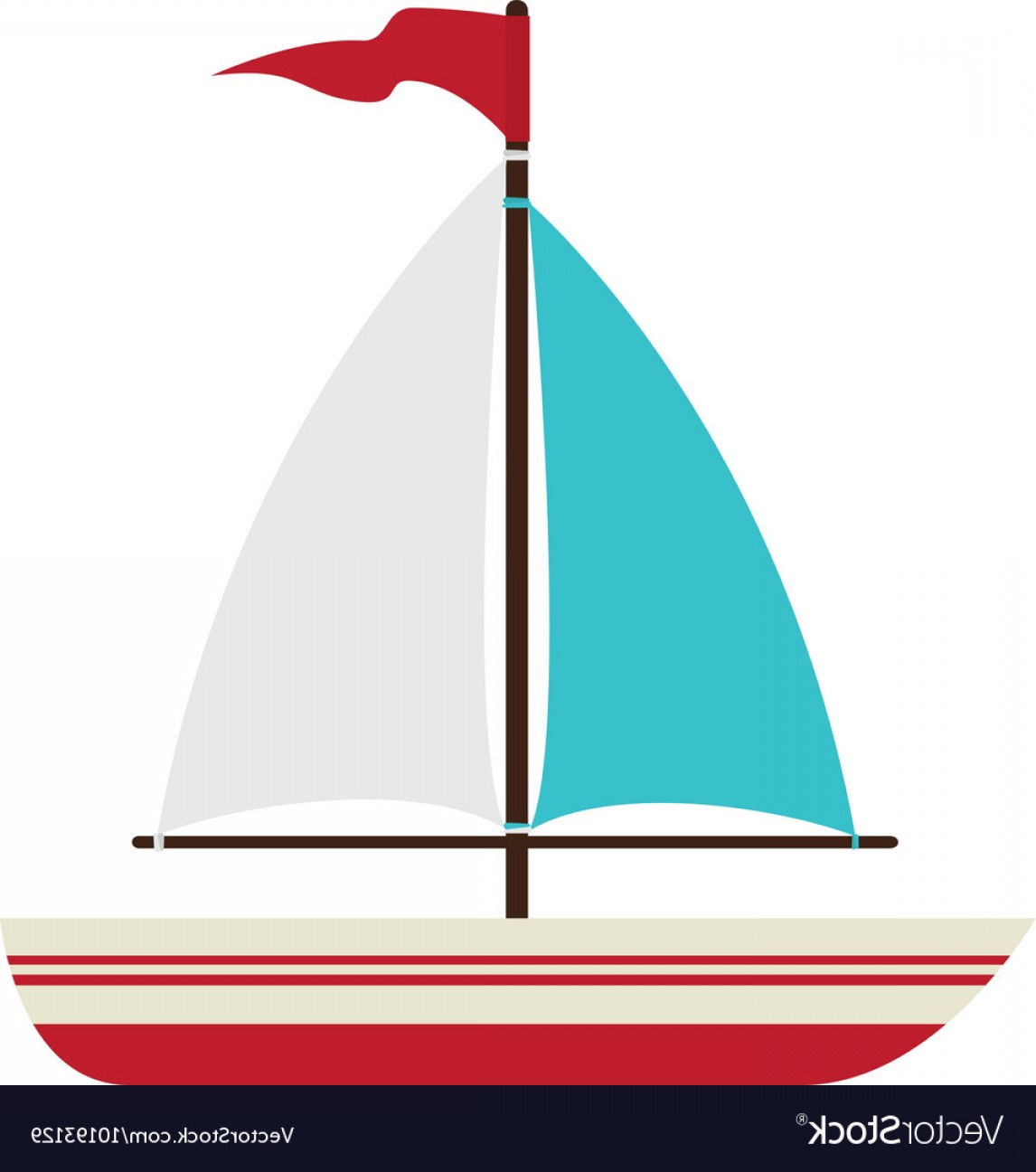 Boat Vector Art Graphics: Boat Sea Ship Flag Icon Graphic Vector