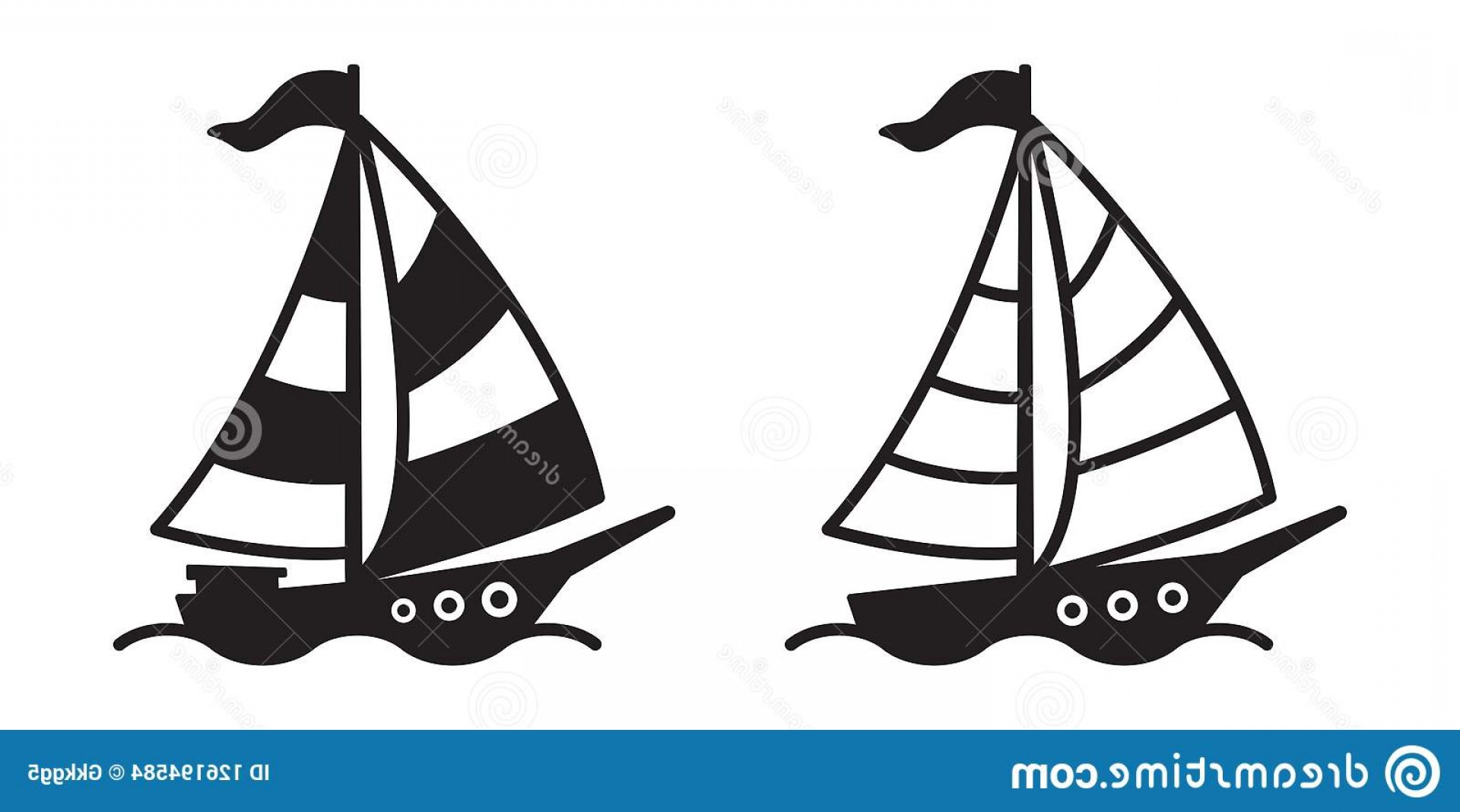 Boat Vector Art Graphics: Boat Ship Vector Logo Icon Symbol Pirate Yacht Sailboat Illustration Graphic Cartoon Image