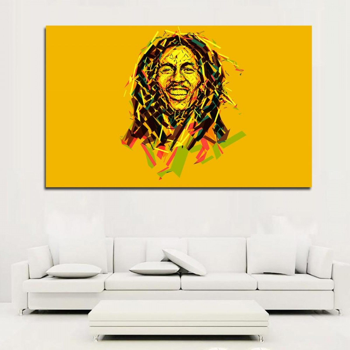 Wall Art Vector Graphics For The Home: Bob Marley Portrait Vector Graphics Colored Background Oil Painting On Canvas Art Prints For Living Room Home Decoration