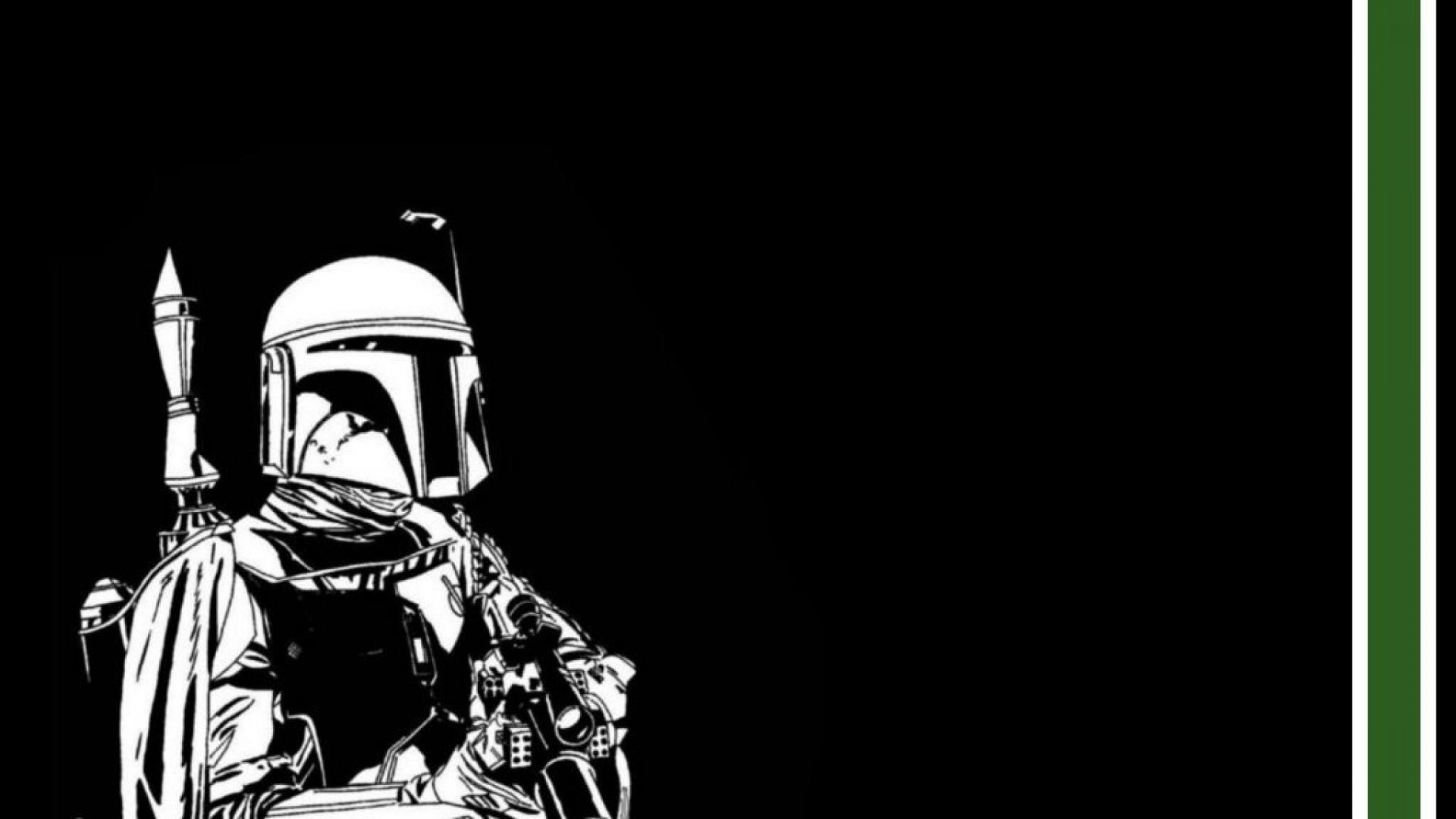 Boba Fett Vector Black And White: Boba Fett Star Wars Black Green White Wallpaper