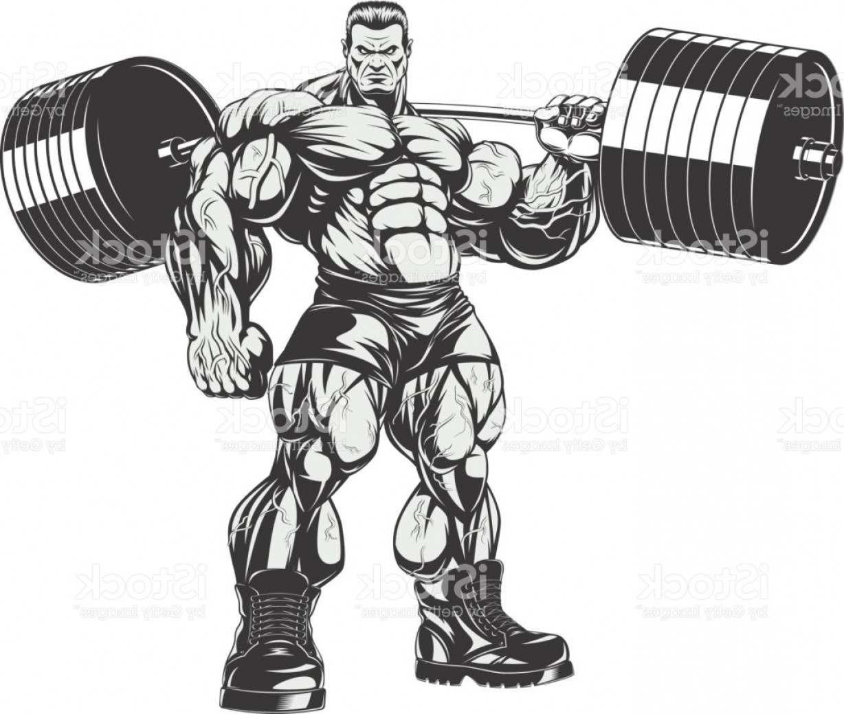 Weightlifter Vector Art: Bodybuilder With Big Biceps Gm
