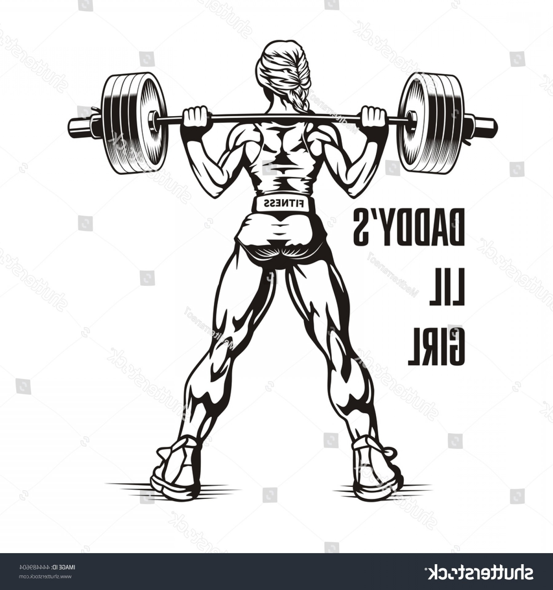 Vector Barbell Press: Bodybuilder Woman Squatting Barbell Young Girl