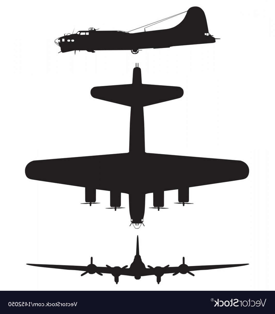 Vectors Fortress Flying: Boeing B Flying Fortress Vector