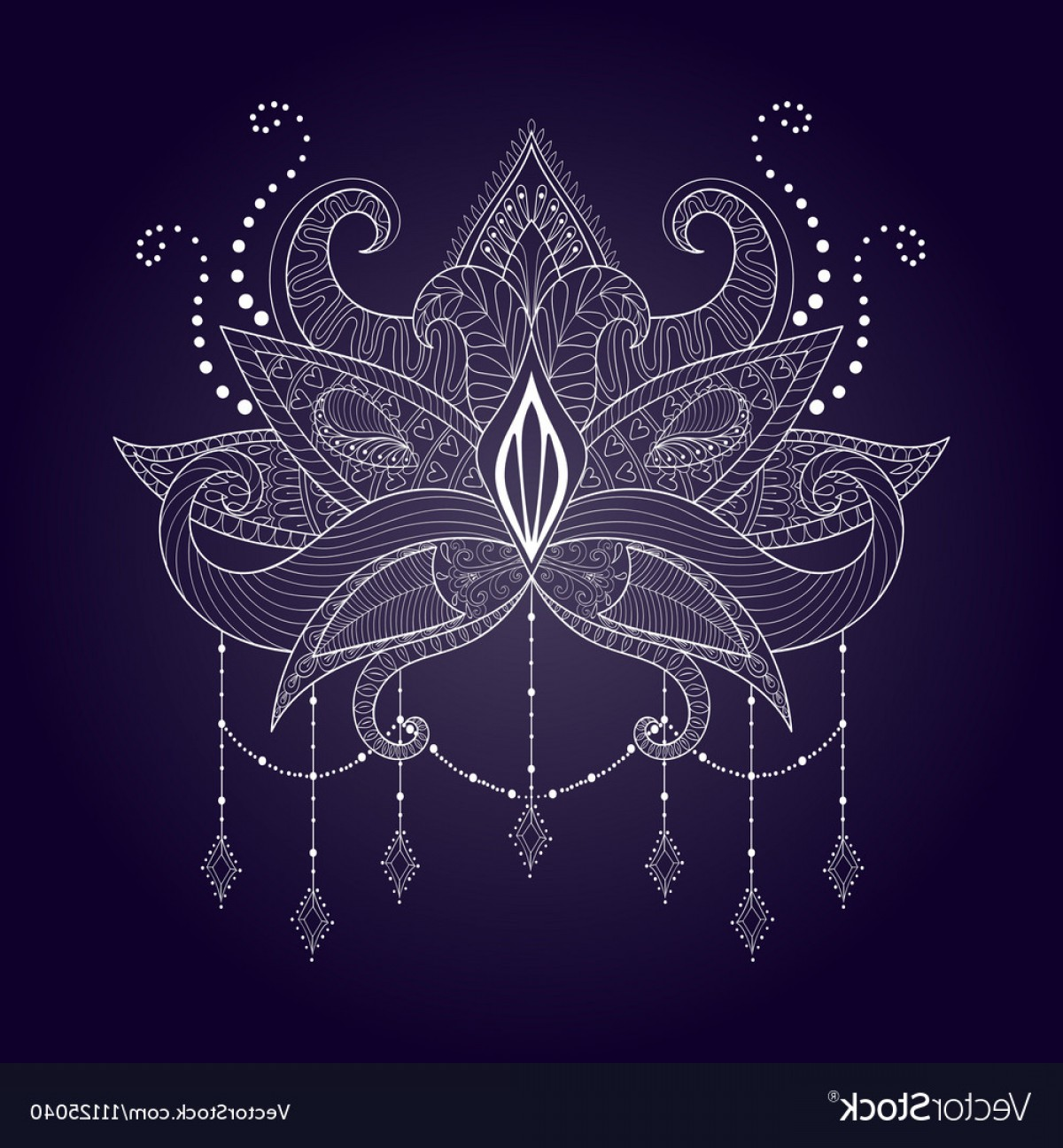 Vector Boho Arrow Strength: Boho Ornamental White Lotus Flower Blackwork Vector