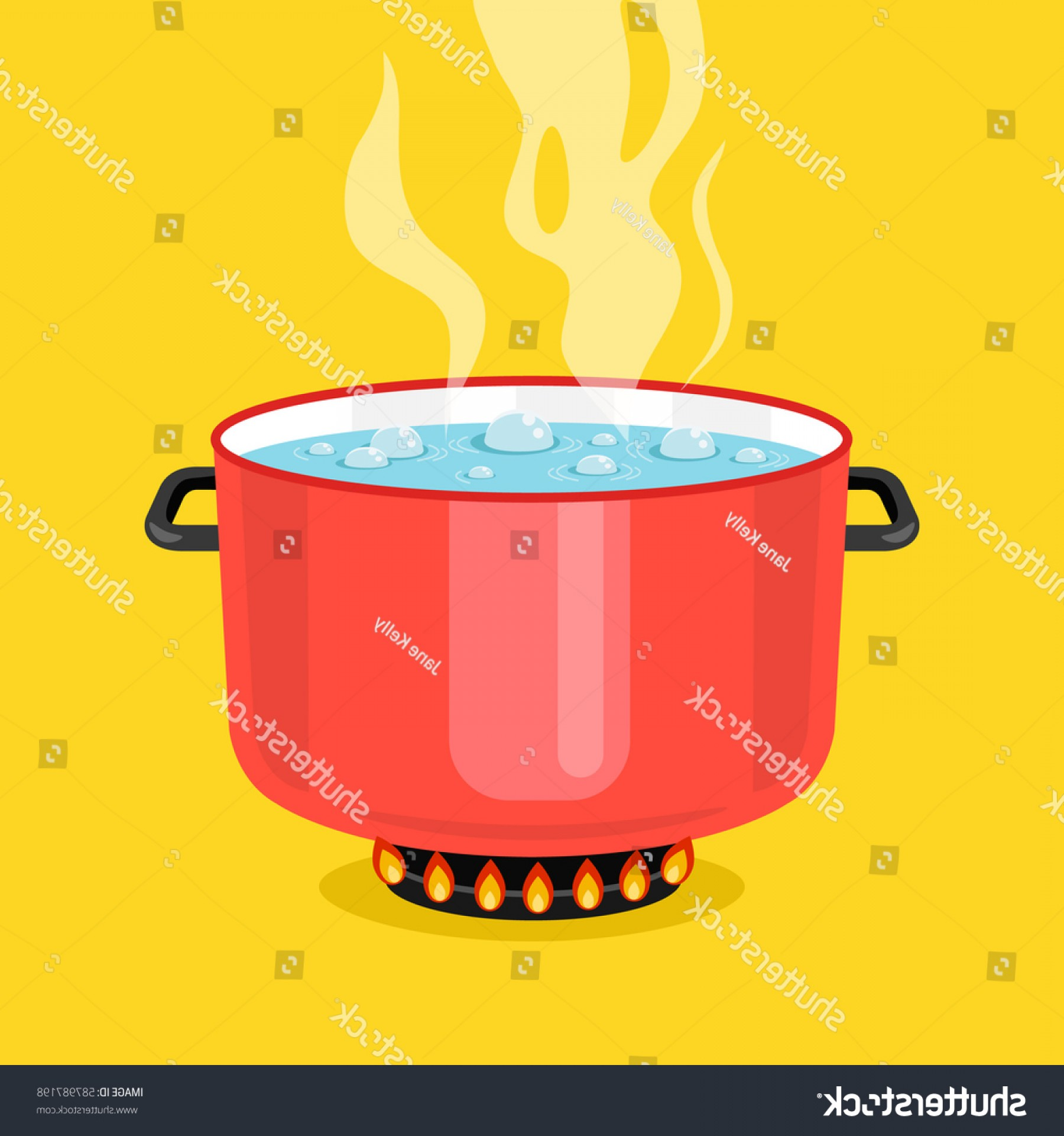 Big Cook With Cooking Pot Vector: Boiling Water Pan Red Cooking Pot