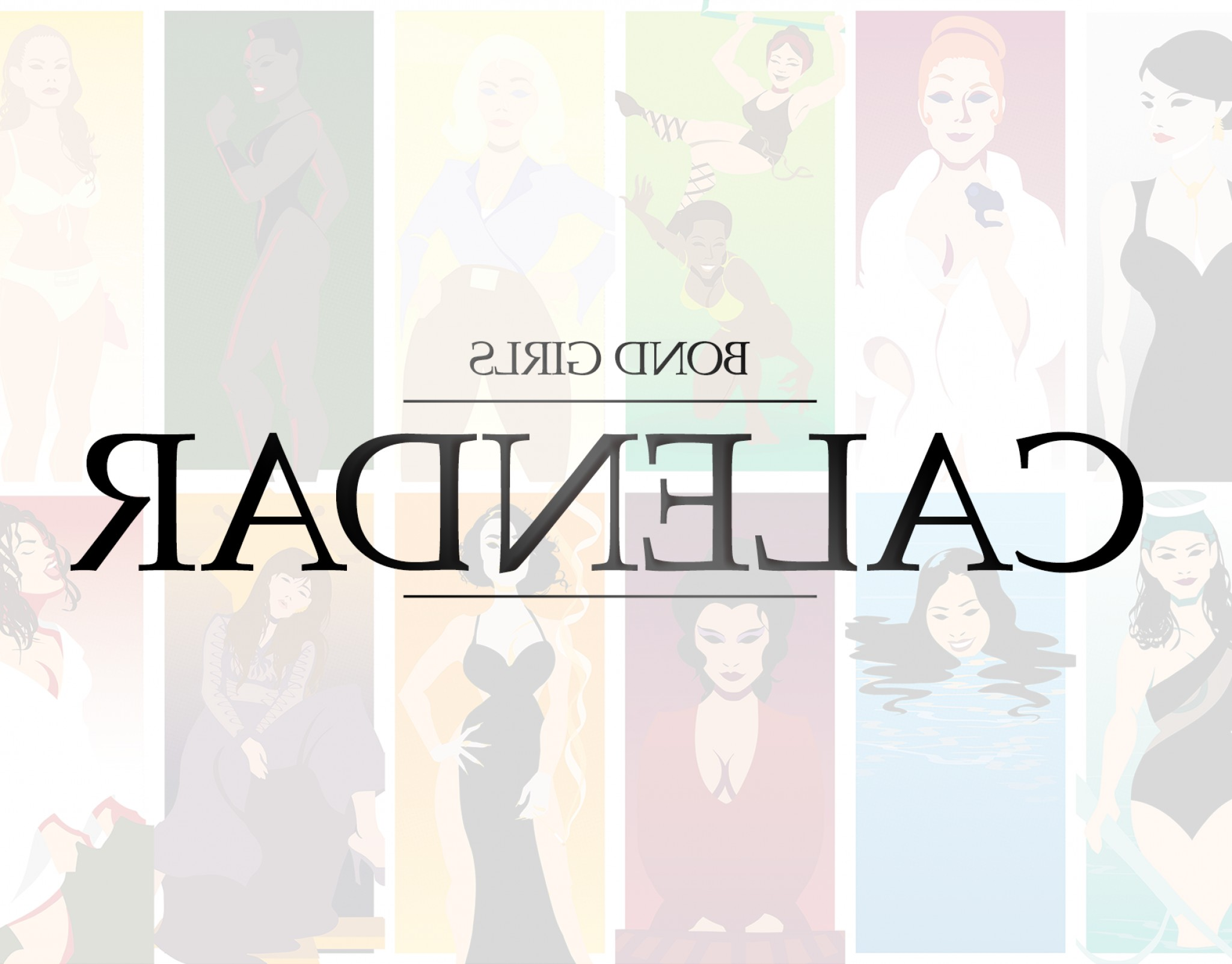 Bond Girls Vector: Bond Girls Vector Art Pinup Calendar