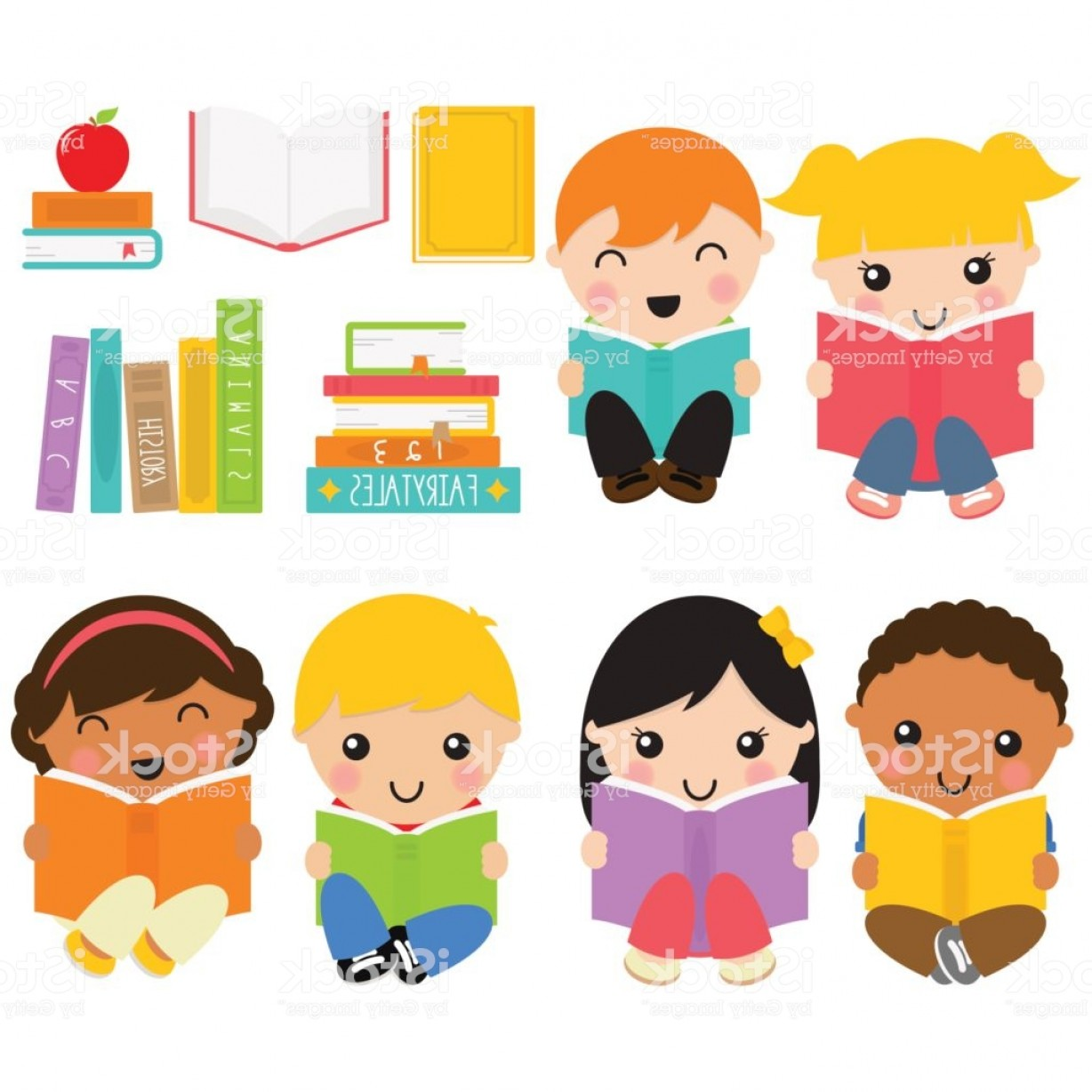 Vector ABC History: Book Lovers Kids In White Background Gm