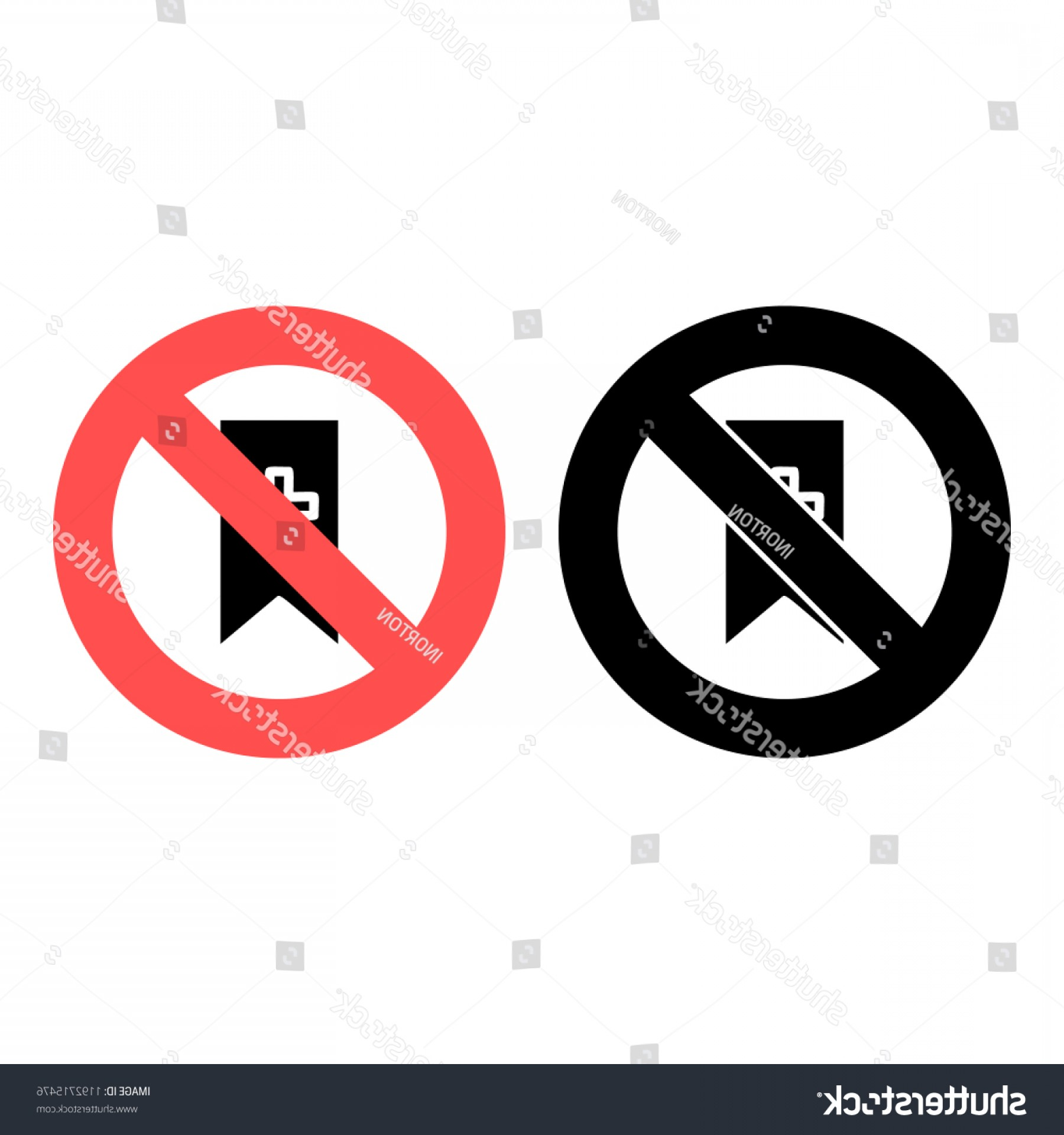 Vector Ban Plus: Bookmark Flag Plus Icon Simple Glyph