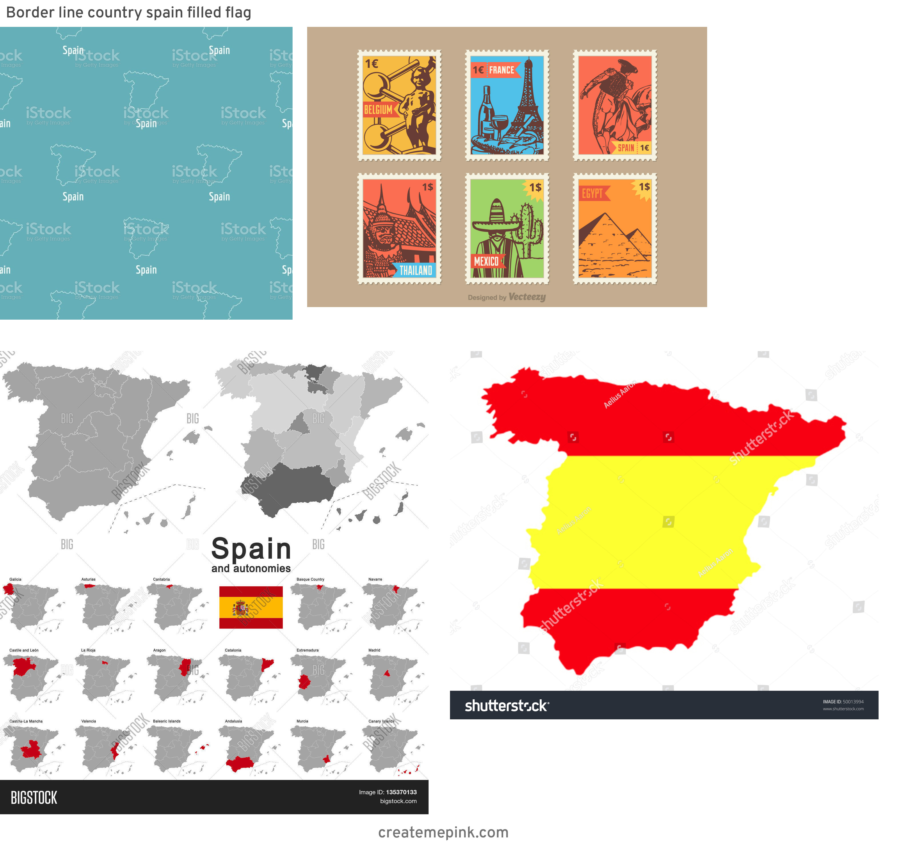 Spain Country Vectors Line: Border Line Country Spain Filled Flag