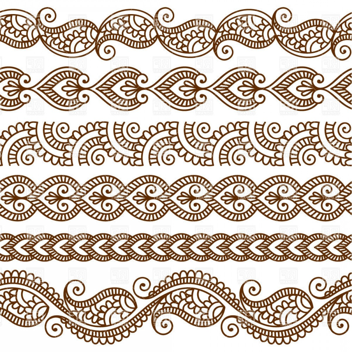 Vector Art Henna: Borders And Frames In Mehndi Style Ethnic Ornament Vector Clipart