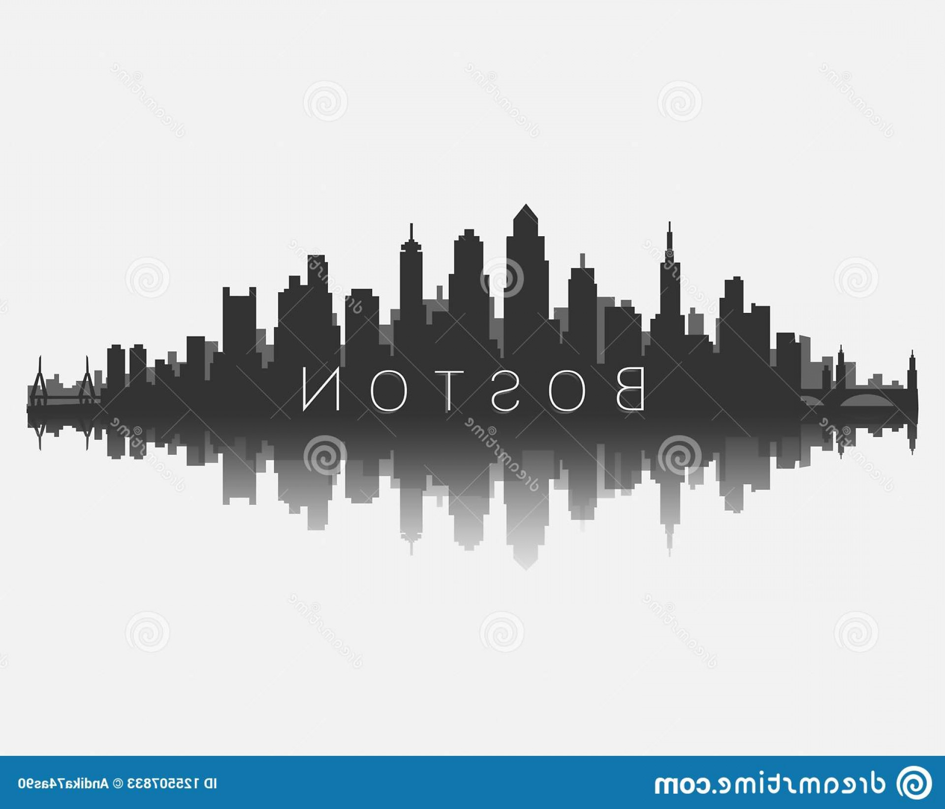 Wicked Boston Skyline Silhouette Vector: Boston City Skyline Silhouette Reflection Vector Illustration White Background Eps Image