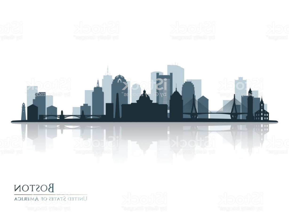 Wicked Boston Skyline Silhouette Vector: Boston Skyline Silhouette With Reflection Vector Illustration Gm