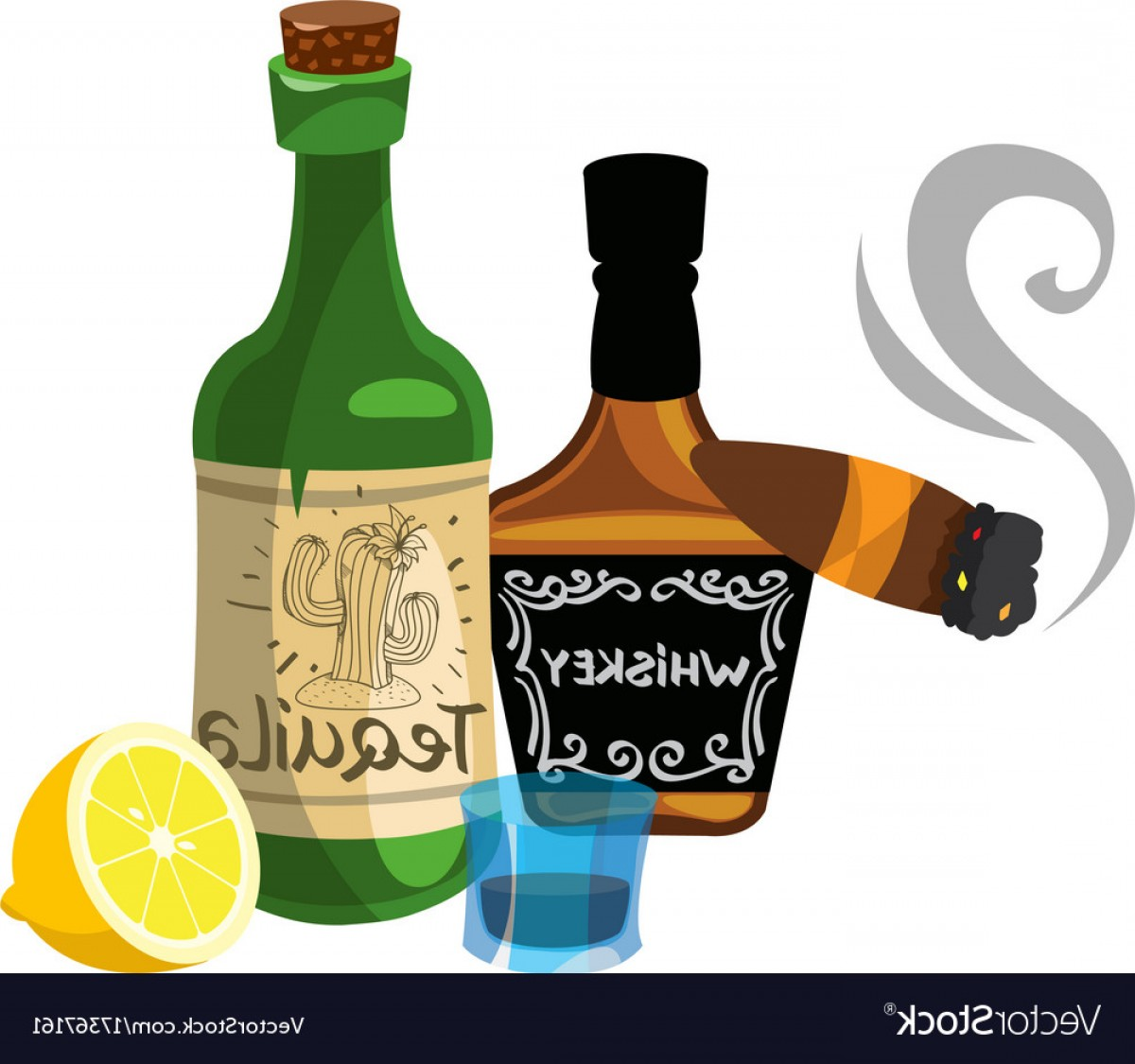 Alcohol Vector: Bottle Of Whiskey And A Cigar Alcohol Vector