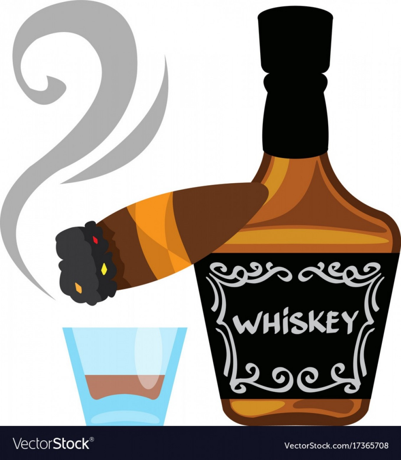 Alcohol Vector: Bottle Of Whiskey And A Cigar Logo Alcohol Vector