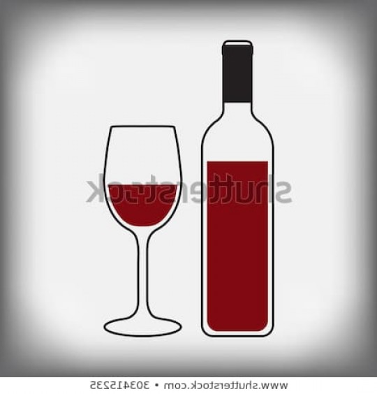 Alcohol Vector: Bottle Wine Glass Alcohol Vector Illustration